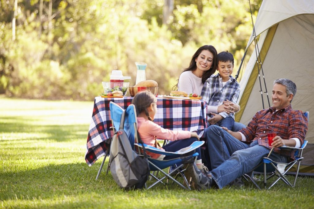 family doing camping